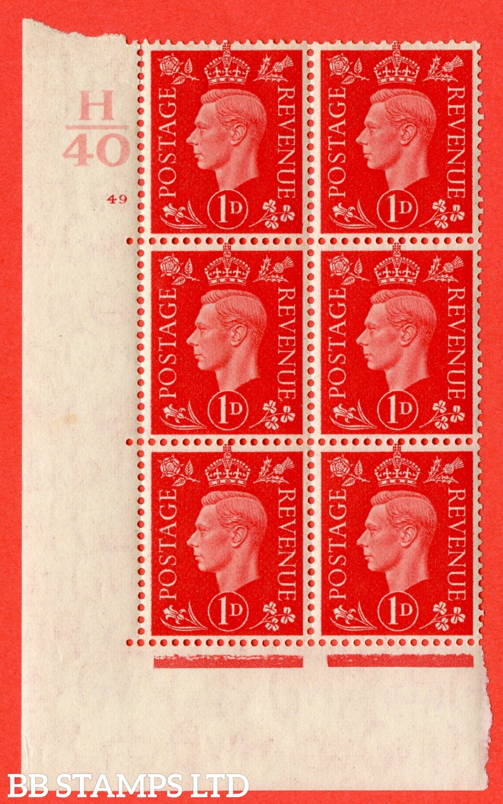 "SG. 463. Q4. 1d Scarlet. A fine lightly mounted mint "" Control H40 cylinder 49 no dot "" block of 6 with perf type 5 E/I."