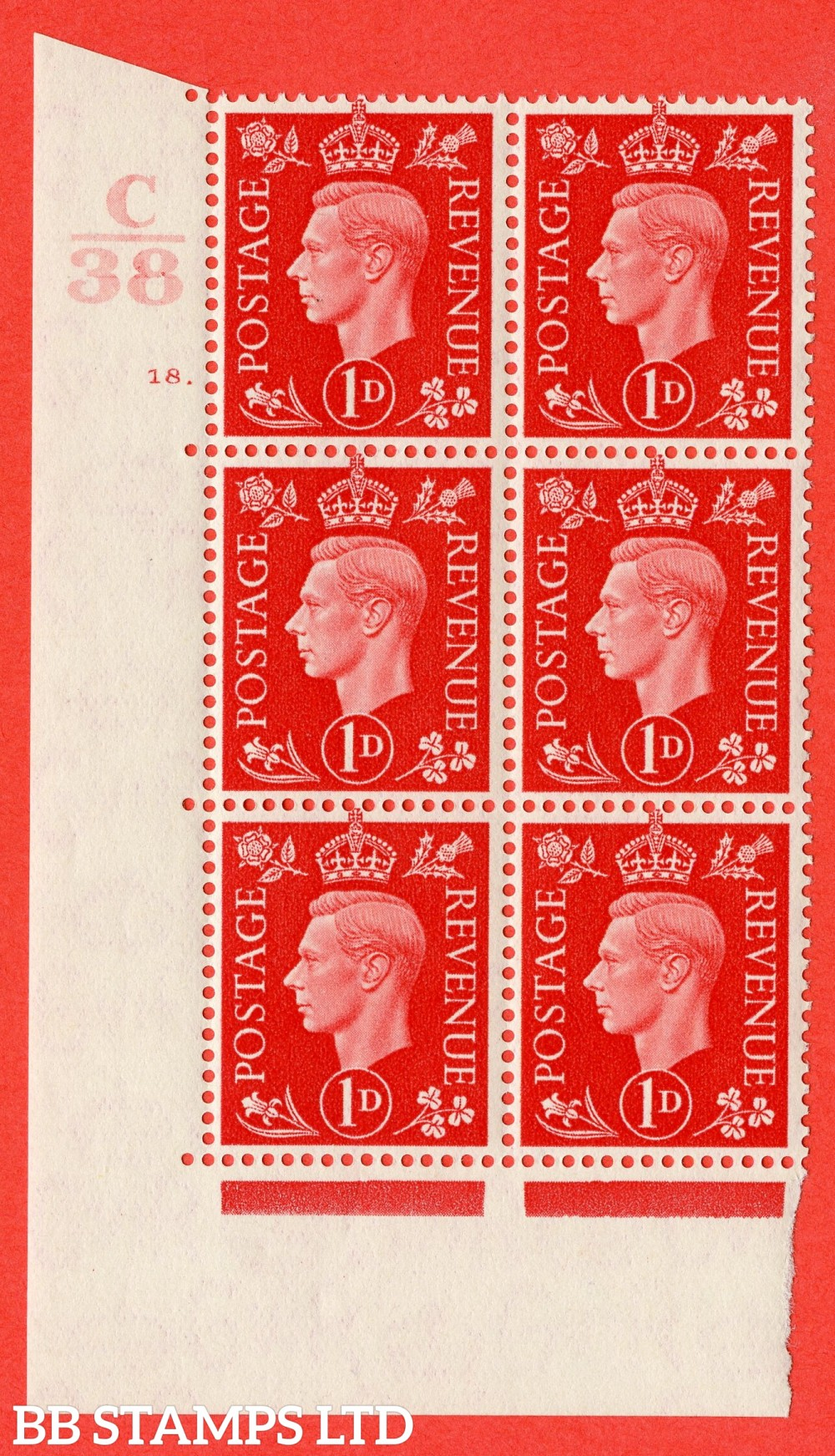 "SG. 463. Q4. 1d Scarlet. A superb UNMOUNTED MINT "" Control C38 cylinder 18 dot "" block of 6 with perf type 5 E/I."