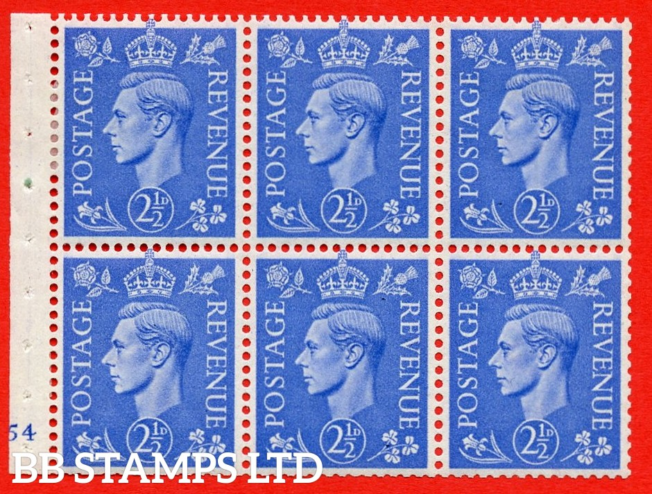 """SG. 489f. QB33. 2½d blue. A fine MOUNTED MINT complete Cylinder pane of 6 J54 No dot. Perf type """"B3(I)"""". Trimmed Perfs."""