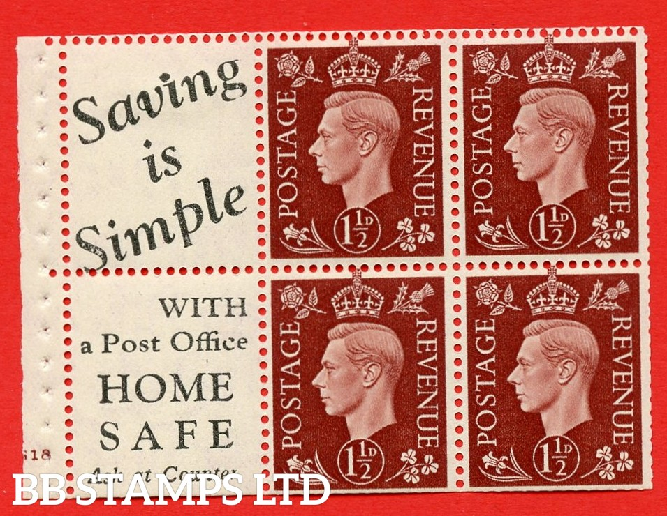 """QB23 Perf Type B4(E) (10) 1½d Red-Brown x 6 Pane, MOUNTED MINT. Cylinder Pane G18 no dot ( SG. 464b ) Perf type B4(E). """" Saving is Simple / (""""is"""" 4.5mm. High) Home Safe """". Trimmed Perfs."""