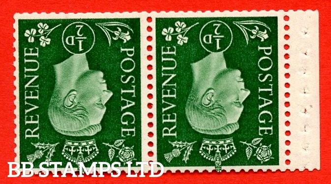 SG. 462 cw. QB3a. ½d Green. A fine UNMOUNTED MINT  complete booklet pane. Inverted Watermark Perf type ' P '. Good Perfs.