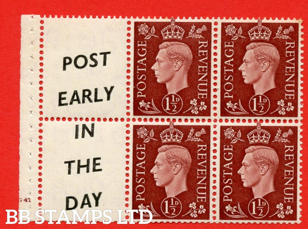 """QB23 Perf Type B3(I) (14) 1½d Red-Brown x 6 Pane, MOUNTED MINT. Cylinder Pane G41 no dot  ( SG. 464b ) Perf type B3(I). """" Post Early /In The Day.  """". Good Perfs."""