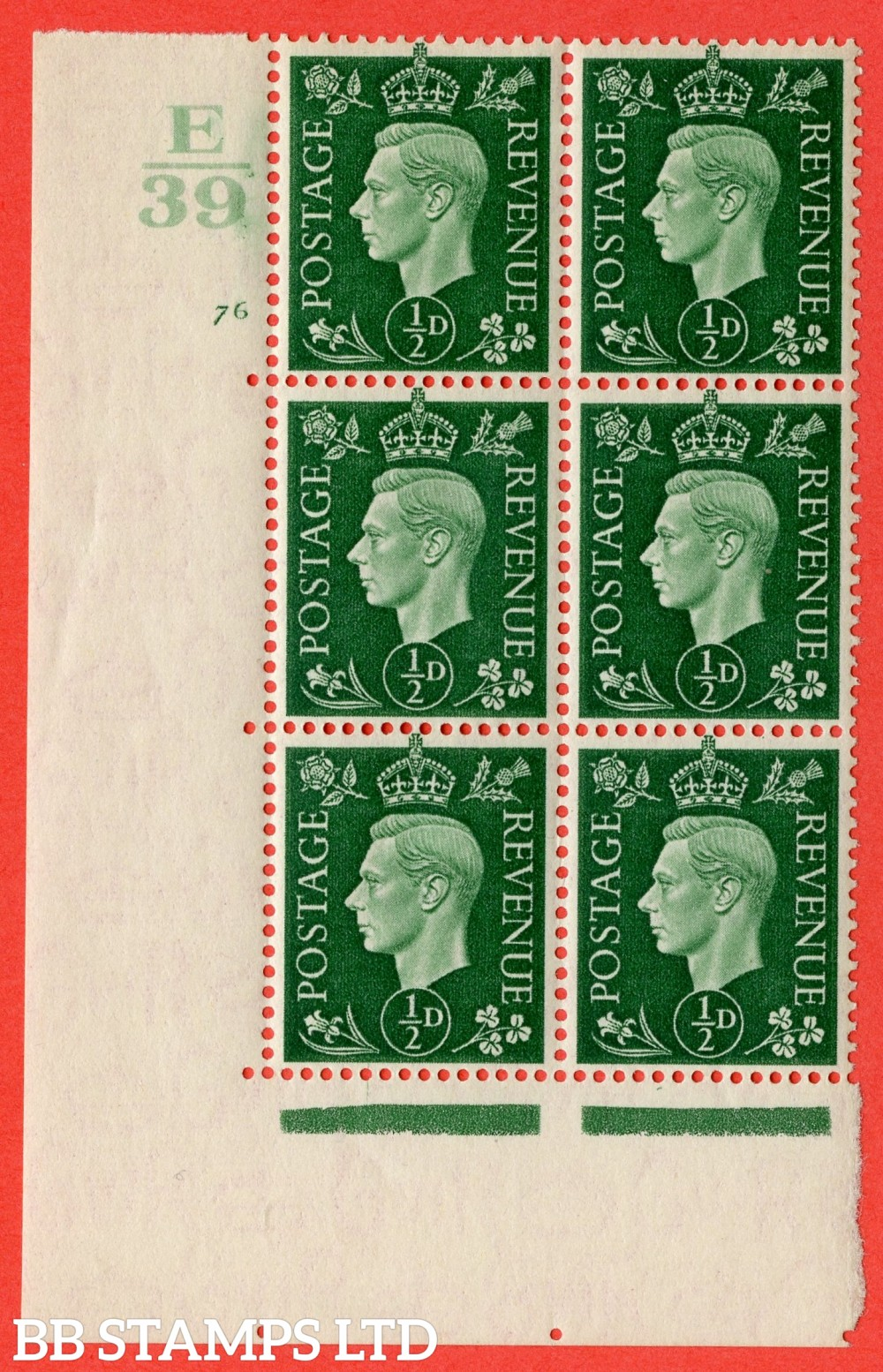 "SG. 462. Q1. ½d Green. A superb UNMOUNTED MINT "" Control E39 cylinder 76 no dot "" block of 6 with perf type 5 E/I with marginal rule."