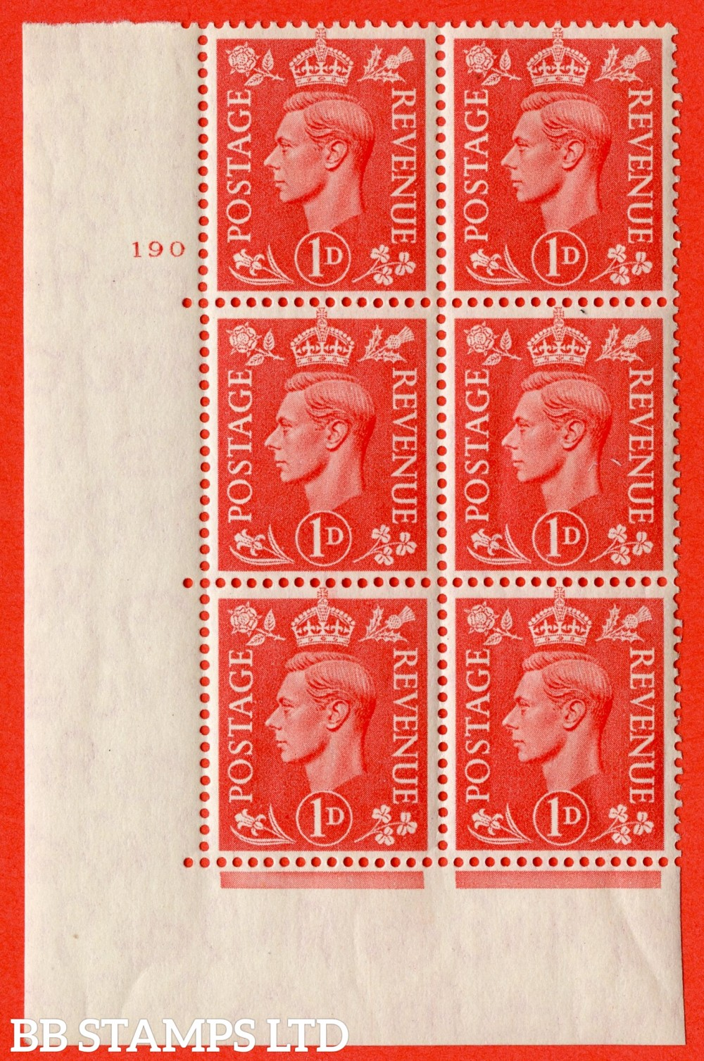 "SG. 486. Q5. 1d Pale scarlet. A superb UNMOUNTED MINT "" No Control   cylinder 190 dot "" control block of 6 with perf type 6B E/P."