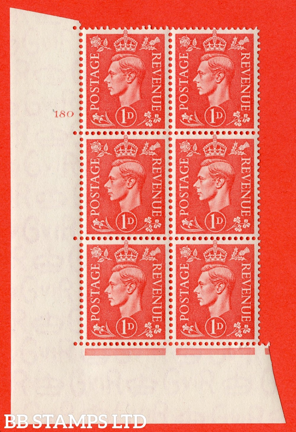 "SG. 486. Q5. 1d Pale scarlet. A superb UNMOUNTED MINT "" No Control   cylinder 180 no dot "" control block of 6 with perf type 5 E/I."