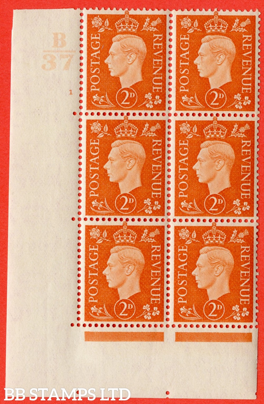 "SG. 465. Q10. 2d Orange. A superb UNMOUNTED MINT "" Control B37 cylinder 1 no dot "" control block of 6 with perf type 5 E/I."