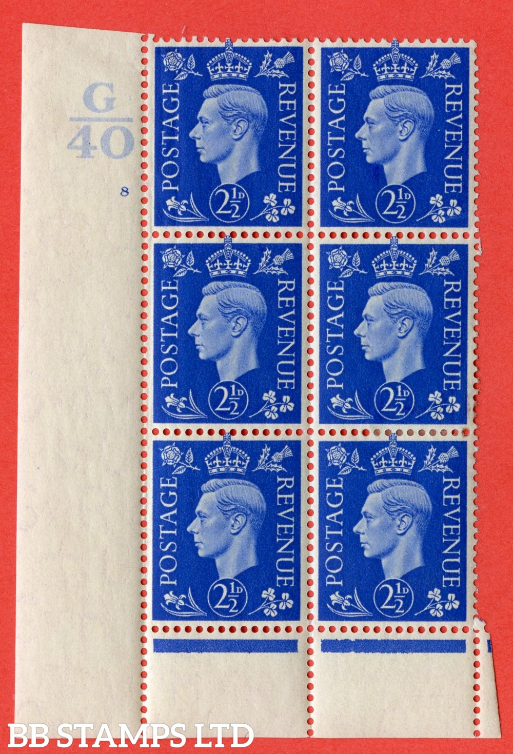 "SG. 466. Q13. 2½d Ultramarine. A fine lightly mounted mint "" Control G40 cylinder 8 no dot "" control block of 6 with perf type 6 I/P."