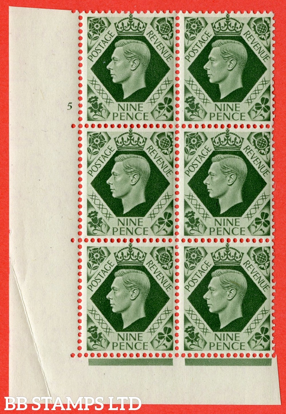 "SG. 473. Q25 b. 9d Olive-Green. A superb UNMOUNTED MINT "" No Control  cylinder 5 no dot "" control block of 6 with perf type 5 E/I."
