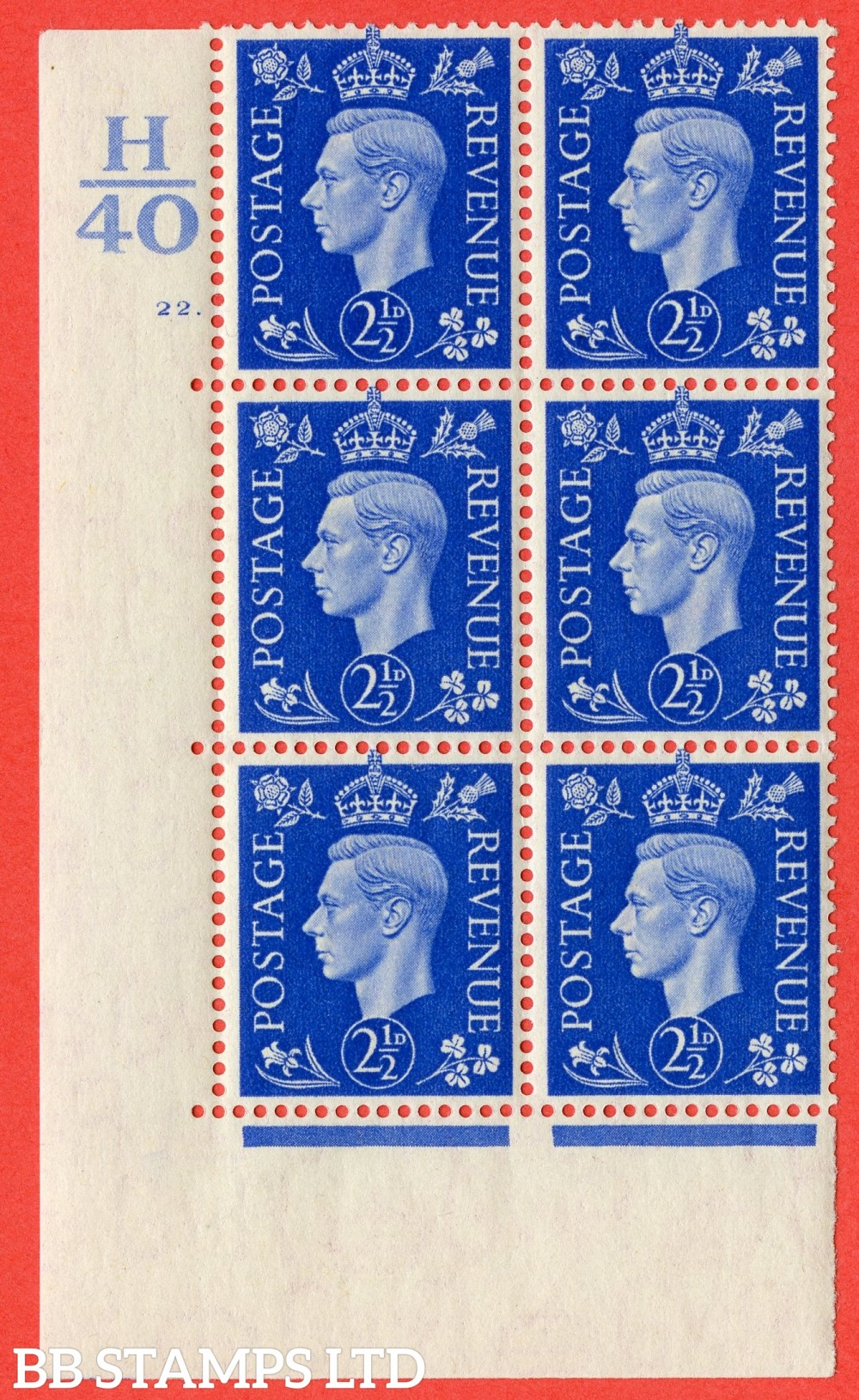 "SG. 466. Q13. 2½d Ultramarine. A superb UNMOUNTED MINT "" Control H40 cylinder 22 dot "" control block of 6 with perf type 5 E/I."