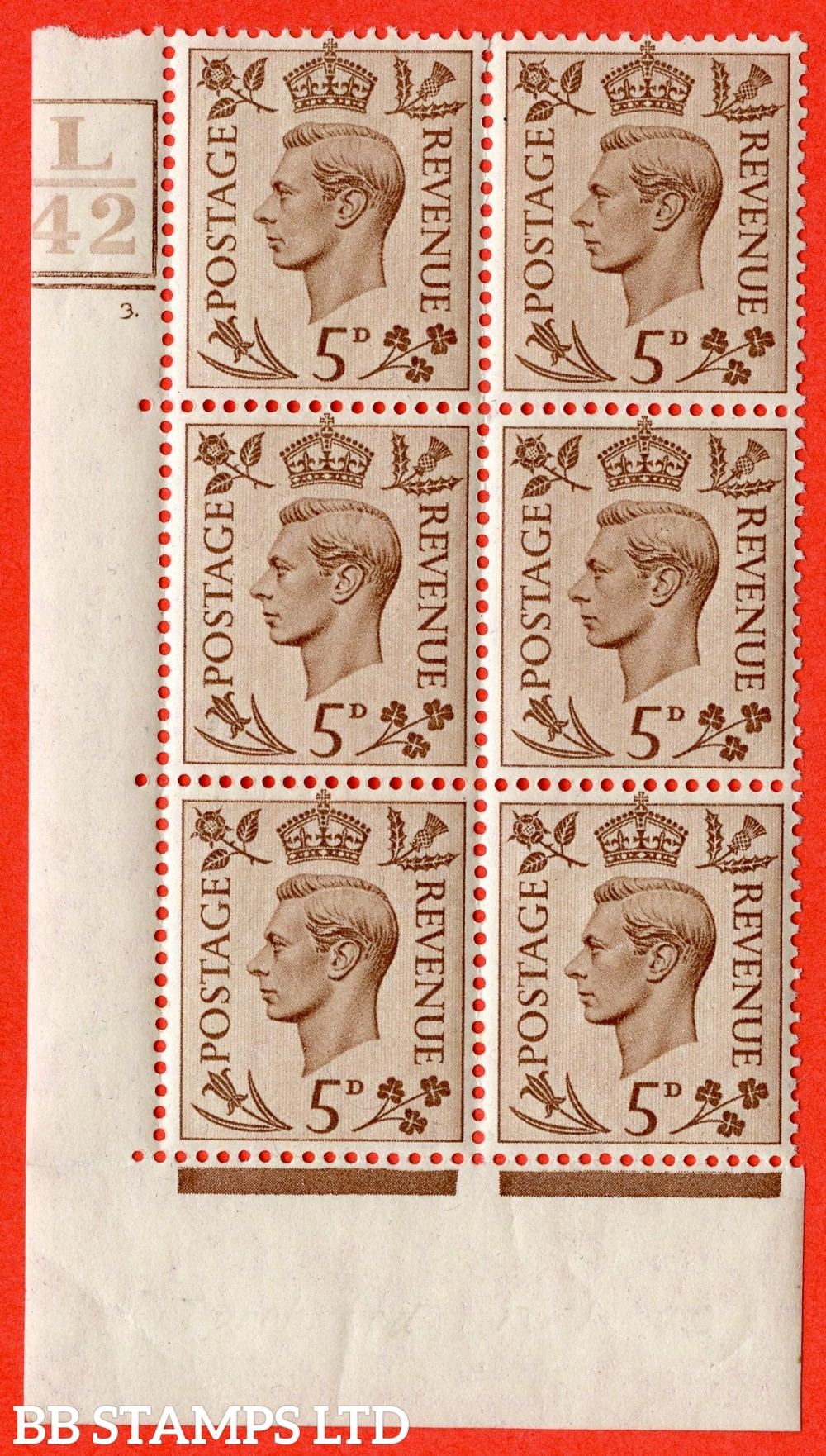 """SG. 469. Q21. 5d Brown. A fine lightly mounted mint.  """" Control L42. Box & Bar cylinder 3 no dot """" control block of 6 with perf type 5 E/I."""