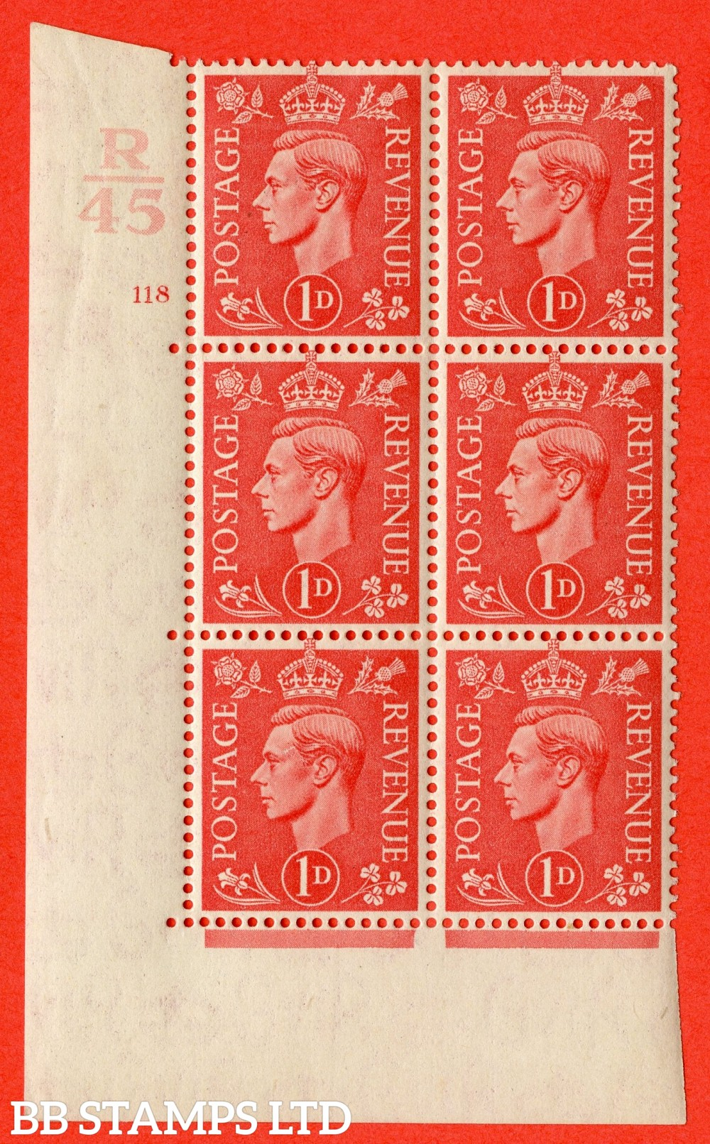 "SG. 486. Q5. 1d Pale scarlet. A fine lightly mounted mint "" Control R45  cylinder 118 no dot "" control block of 6 with perf type 5 E/I."
