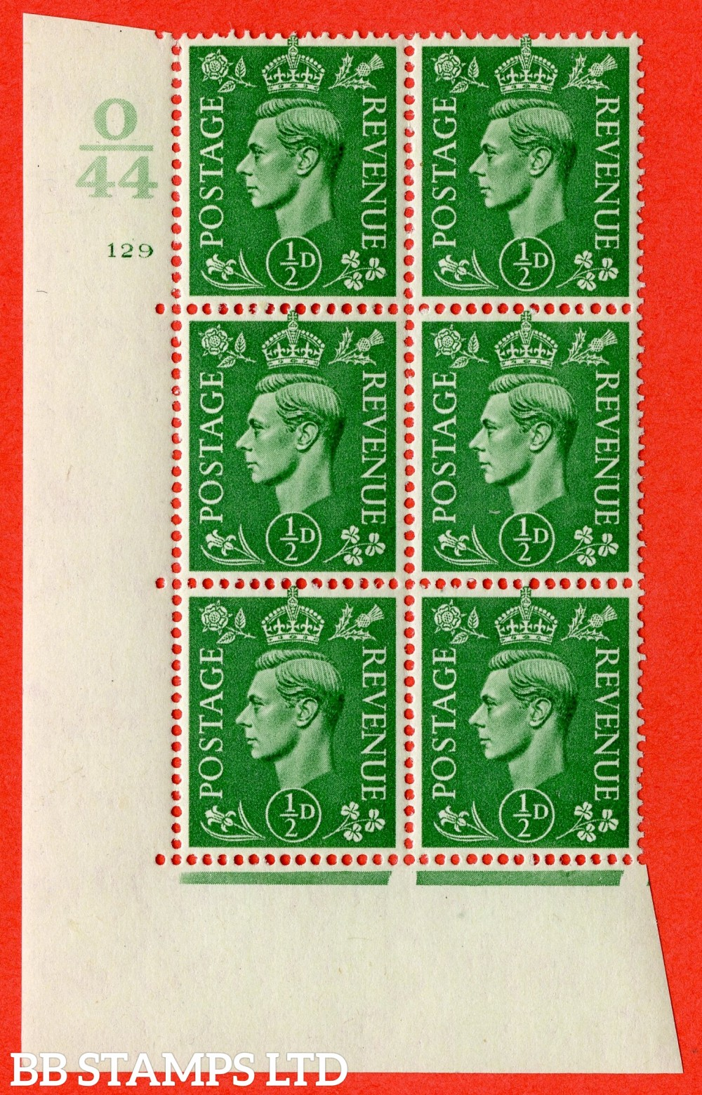 "SG. 485. Q2. ½d Pale Green. A fine lightly mounted mint "" Control O44 cylinder 129 no dot "" block of 6 with perf type 5 E/I with marginal rule."