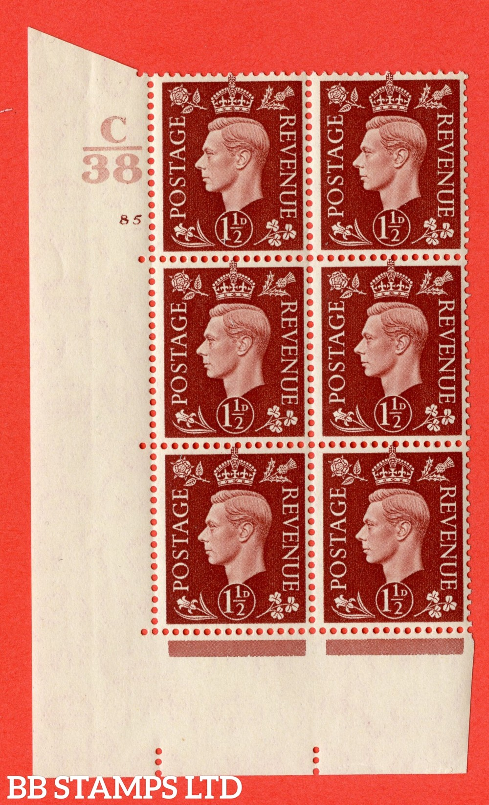 """SG. 464. Q7. 1½d Red-Brown. A superb UNMOUNTED MINT """" Control C38 cylinder 85 no dot """" block of 6 with perf type 5 E/I."""