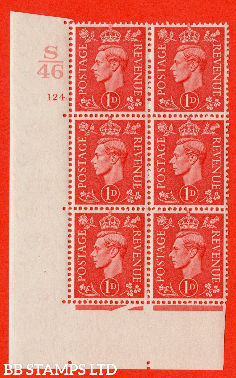 "SG. 486. Q5. 1d Pale scarlet. A superb UNMOUNTED MINT "" Control S46  cylinder 124 no dot "" control block of 6 with perf type 5 E/I."