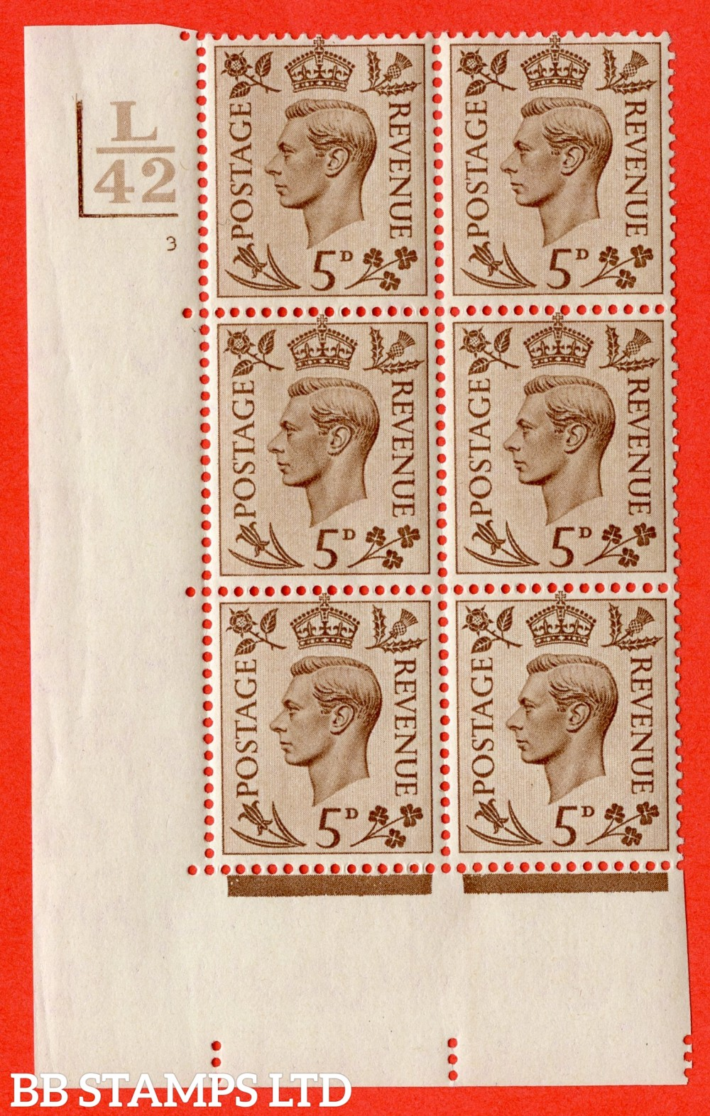 """SG. 469. Q21. 5d Brown. A superb UNMOUNTED MINT.  """" Control L42. 2 Bars. Cylinder 3 no dot """" control block of 6 with perf type 5 E/I."""