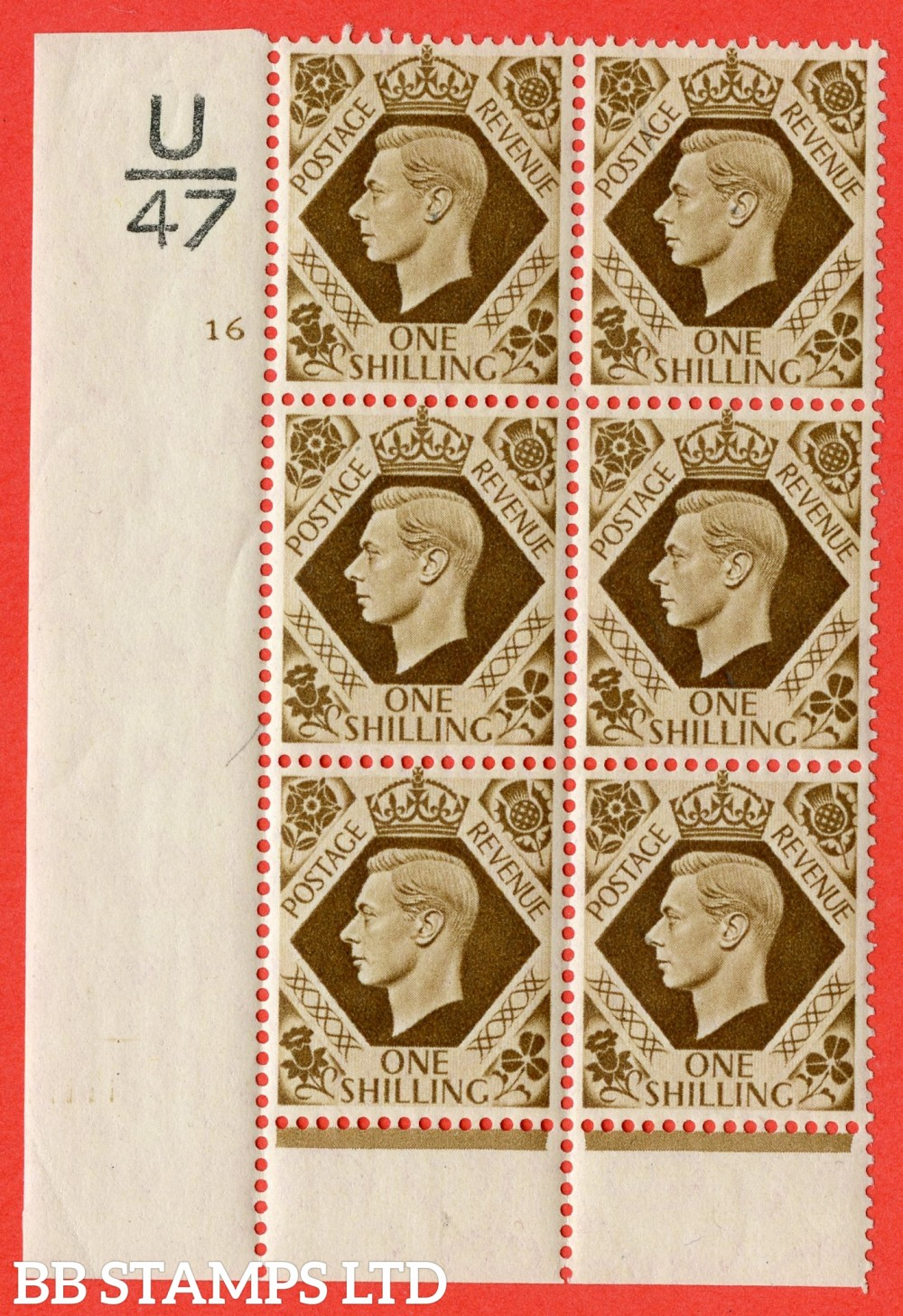 "SG. 475. Q28. 1/- Bistre-Brown. A fine lightly mounted mint "" Control  U47 cylinder 16 no dot "" control block of 6 with perf type 6 I/P."