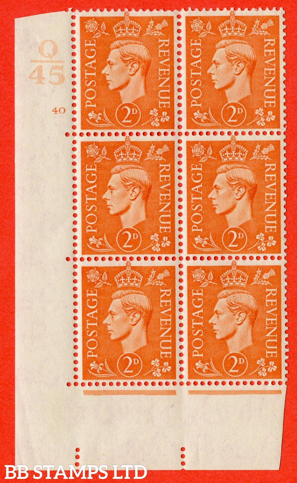 """SG. 488. Q11. 2d Pale Orange. A superb UNMOUNTED MINT """" Control Q45 cylinder 40 no dot """" control block of 6 with perf type 5 E/I."""