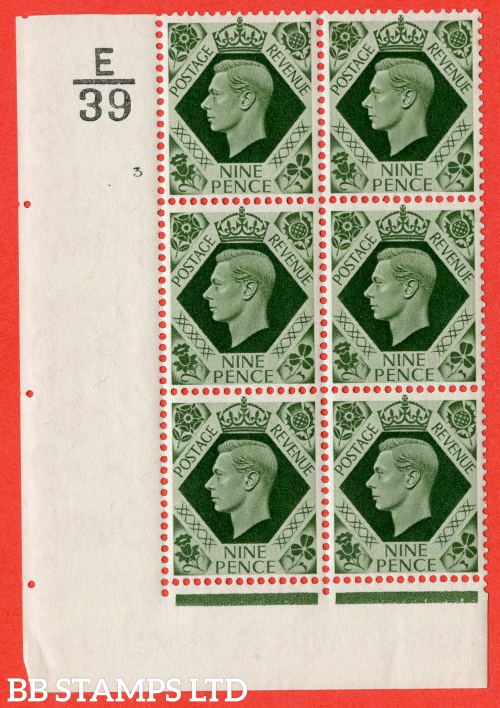 "SG. 473. Q25. b. 9d Olive-Green. A Superb UNMOUNTED MINT "" Control E39 cylinder 3 no dot "" control block of 6 with perf type 2 I/E with listed variety "" Serif touched out but dot remains "" R18/1."