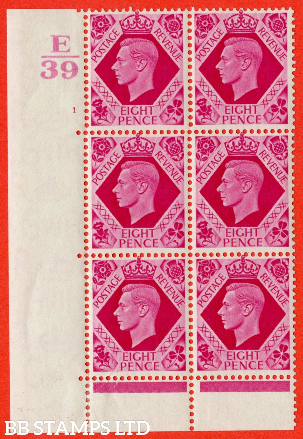 "SG. 472. Q24. 8d Carmine. A fine lightly mounted mint "" Control E39 Cylinder 1 no dot "" control block of 6 with perf type 6B E/P."