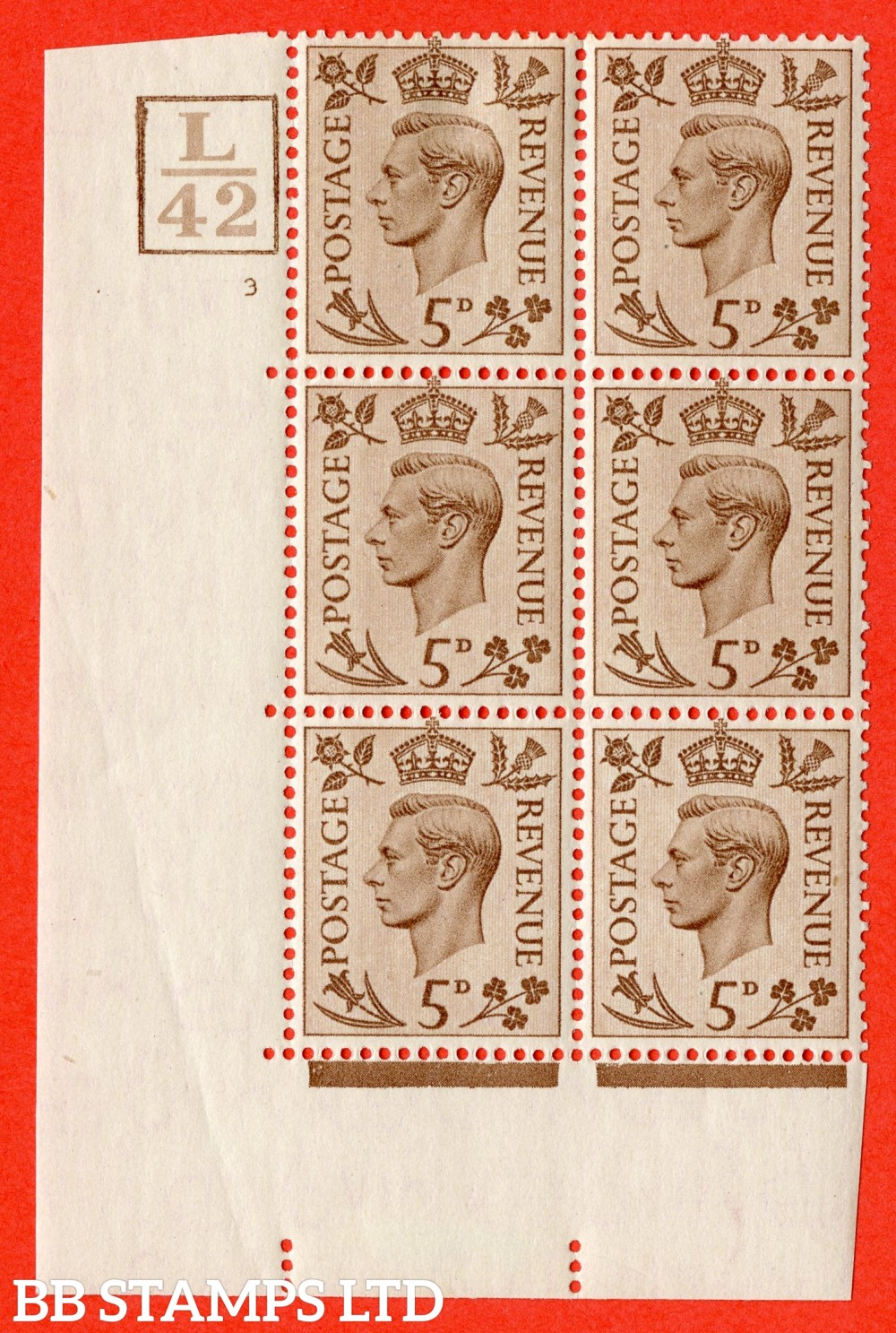 """SG. 469. Q21. 5d Brown. A fine lightly mounted mint.  """" Control L42 Box. Cylinder 3 no dot """" control block of 6 with perf type 5 E/I."""