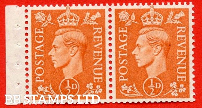 """SG. 503. QB9. ½d orange. A fine MOUNTED MINT complete booklet pane of 2. Perf type """" E  """". Good Perfs."""