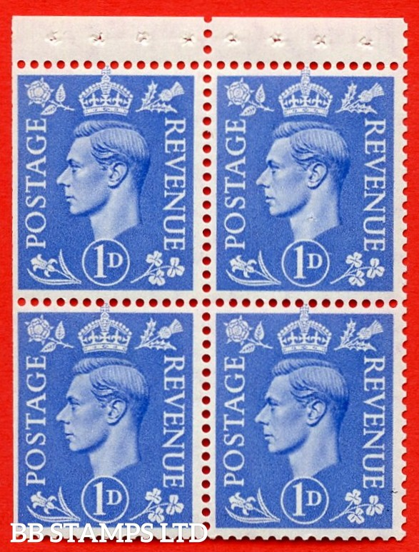 """SG. 504g. QB16b. 1d ultramarine. A fine UNMOUNTED MINT complete booklet pane of 4. Perf type """" P """". Trimmed Perfs."""