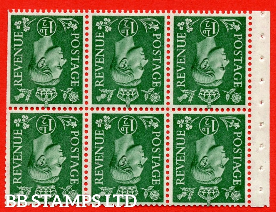 """SG. 505bw. QB26a. 1½d pale green. A superb UNMOUNTED MINT complete booklet pane. Perf type """" Iet """". Trimmed Perfs"""