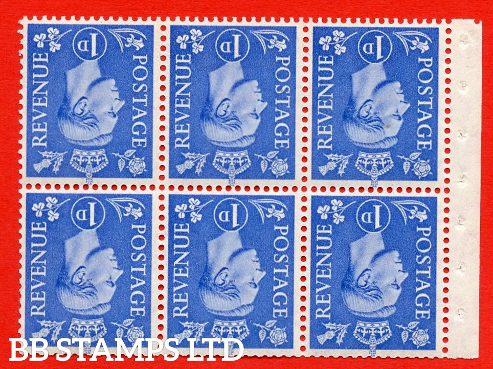 """SG. 504fw. QB15a. 1d ultramarine. Type 1c. A fine UNMOUNTED MINT. INVERTED WATERMARK. complete booklet pane of 6. Perf type """" Ieb """". Good Perfs."""