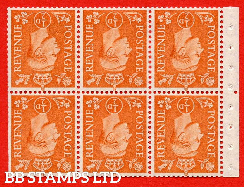 """SG. 503dw. QB7a. ½d orange. A fine MOUNTED MINT. INVERTED WATERMARK. complete booklet pane of 6. Perf type """" Iem """". Trimmed Perfs."""
