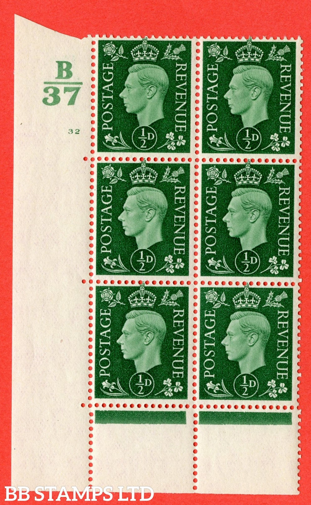 "SG. 462. Q1. ½d Green. A superb UNMOUNTED MINT "" Control B37 cylinder 32 no dot "" block of 6 with perf type 5 E/I with marginal rule."
