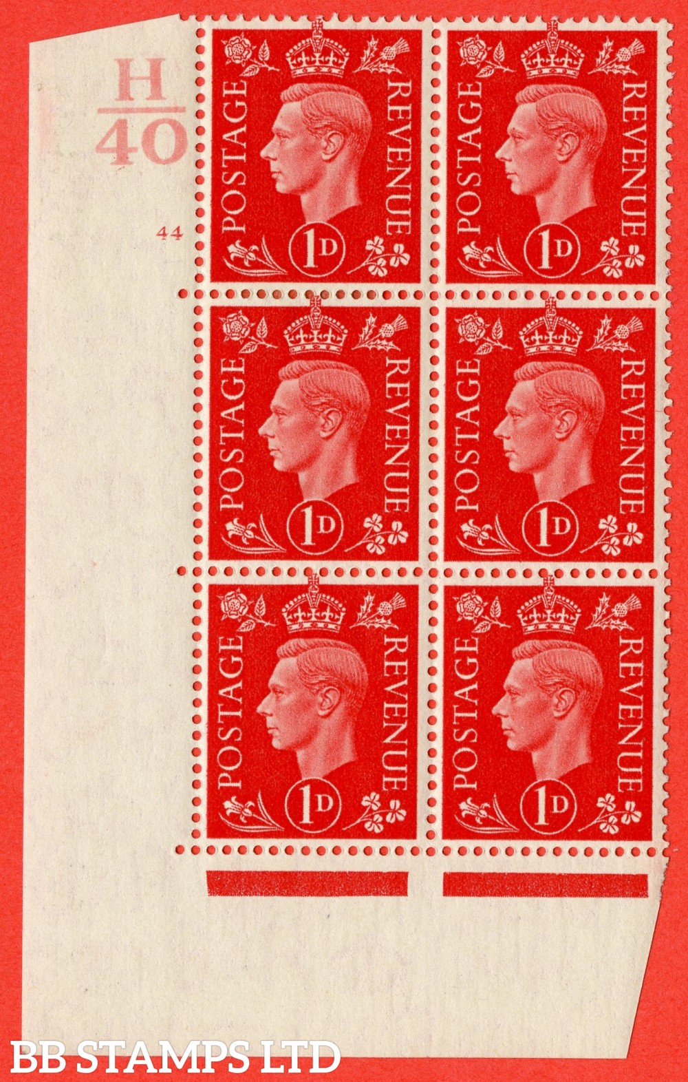 "SG. 463. Q4. 1d Scarlet. A superb UNMOUNTED MINT "" Control H40 cylinder 44 no dot "" block of 6 with perf type 5 E/I with marginal rule."