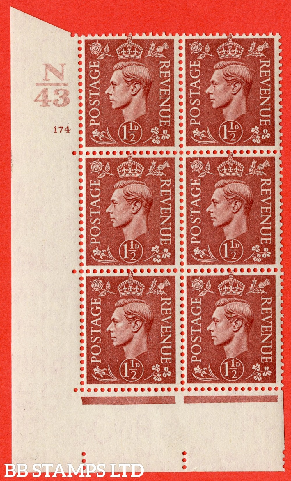 "SG. 487. Q8. 1½d Pale Red-Brown. A fine lightly mounted mint "" Control N43 cylinder 174 no dot "" control block of 6 with perf type 5 E/I."