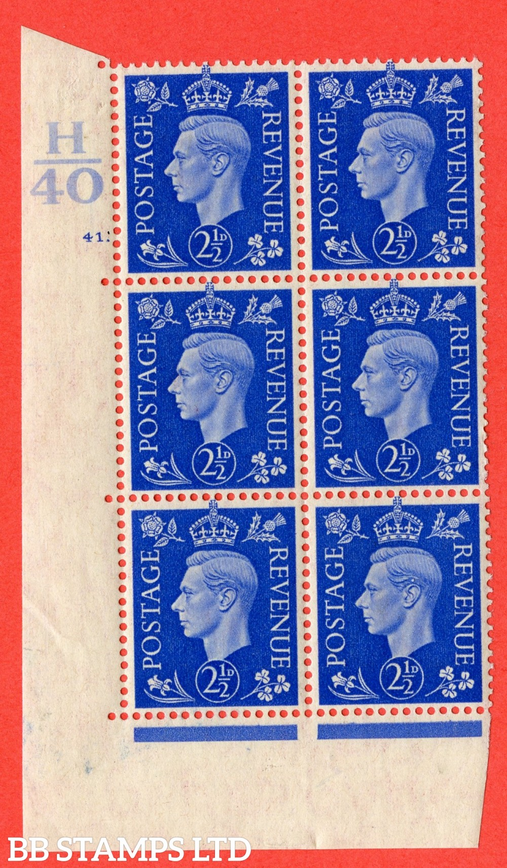 """SG. 466. d. Q13. 2½d Ultramarine.  A superb UNMOUNTED MINT """" Control H40 cylinder 41 dot """" control block of 6 with perf type 5 E/I."""