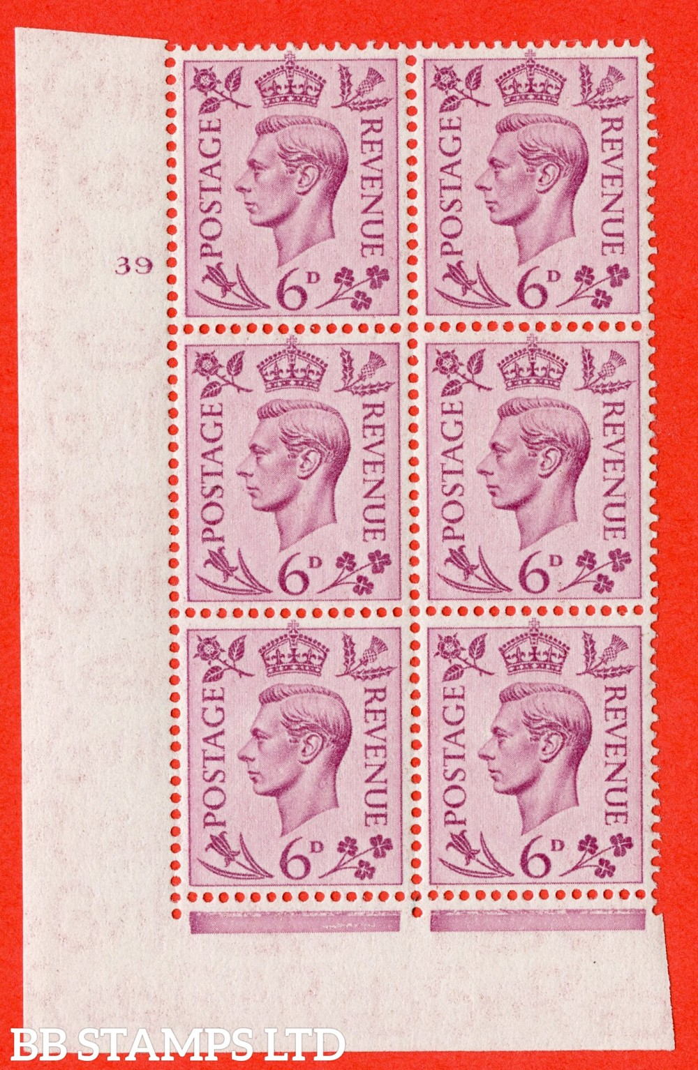 """SG. 470. Q22. 6d Purple. A superb UNMOUNTED MINT """" No Control cylinder 39 no dot """" control block of 6 with perf type 2 E/I"""
