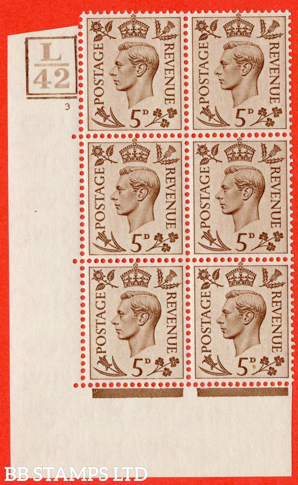 """SG. 469. Q21. 5d Brown. A superb UNMOUNTED MINT.  """" Control L42 Box & Bar cylinder 3 no dot """" control block of 6 with perf type 5 E/I."""