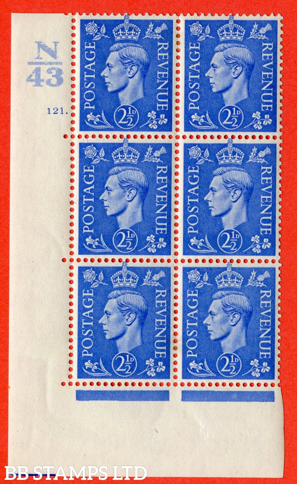 "SG. 489. Q14. 2½d Light ultramarine. A fine lightly mounted mint "" Control N43 cylinder 121 dot "" control block of 6 with perf type 5 E/I."