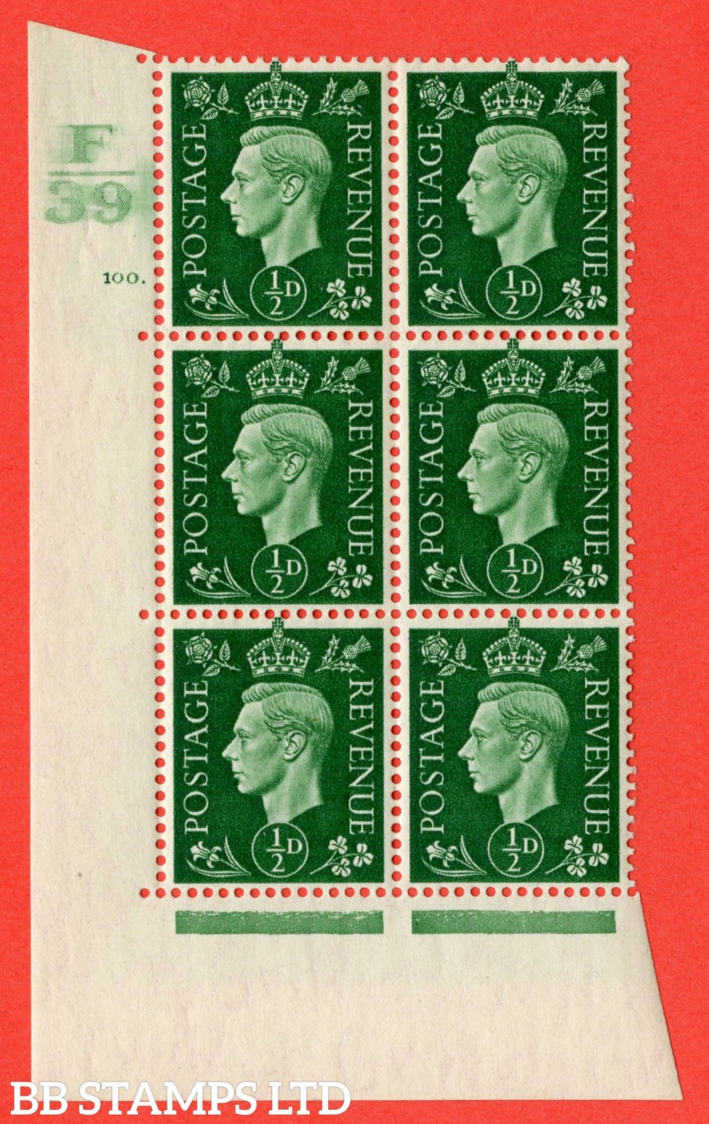 "SG. 462. Q1. ½d Green. A superb UNMOUNTED MINT "" Control F39 cylinder 100 dot "" block of 6 with perf type 5 E/I with marginal rule."