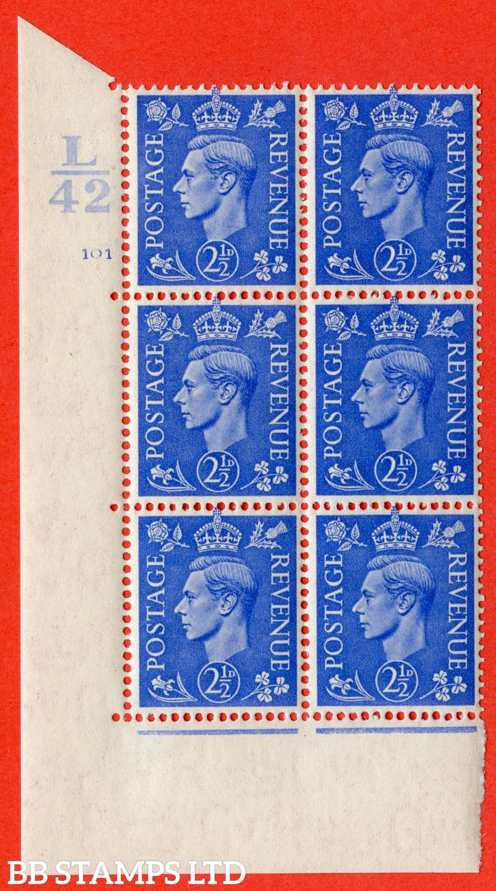 "SG. 489. Q14. 2½d Light ultramarine. A superb UNMOUNTED MINT "" Control L42 cylinder 101 no dot "" control block of 6 with perf type 5 E/I."
