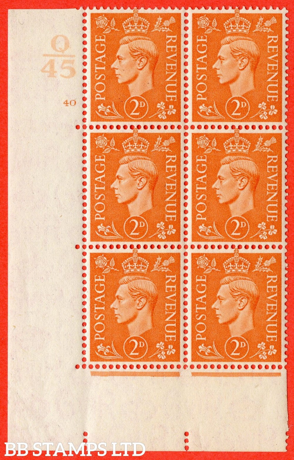 "SG. 488. Q11. 2d Pale Orange. A fine lightly mounted mint "" Control Q45 cylinder 40 no dot "" control block of 6 with perf type 5 E/I."