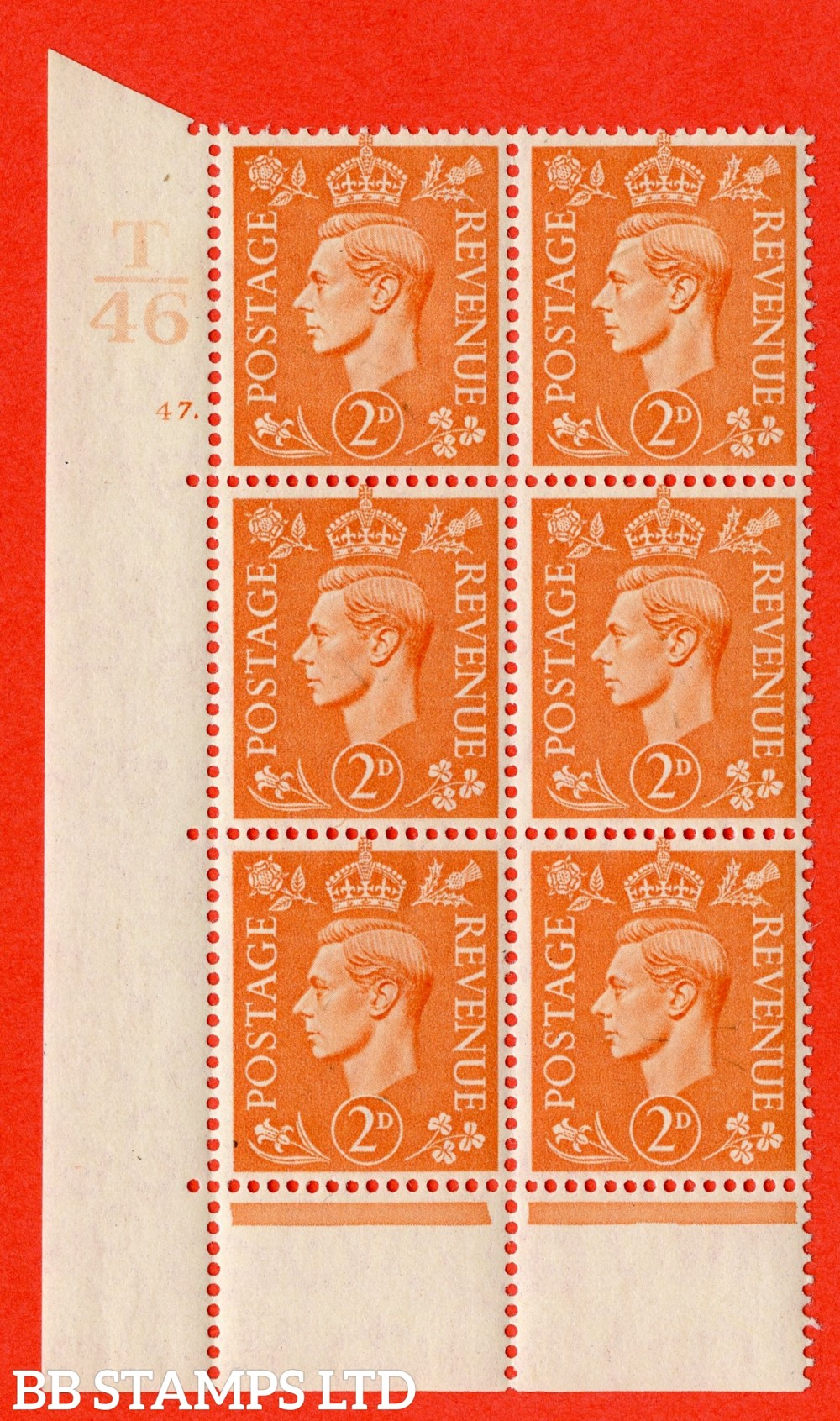 "SG. 488. Q11. 2d Pale Orange. A superb UNMOUNTED MINT "" Control T46 cylinder 47 dot "" control block of 6 with perf type 6B E/P."