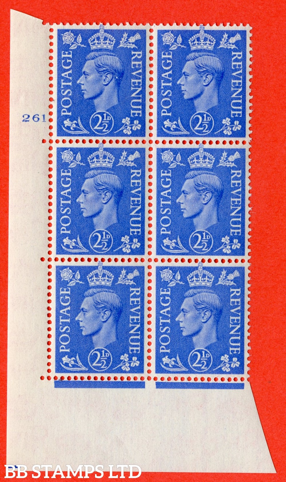 "SG. 489. Q14. 2½d Light ultramarine. A superb UNMOUNTED MINT "" No Control cylinder 261 no dot "" control block of 6 with perf type 5 E/I"