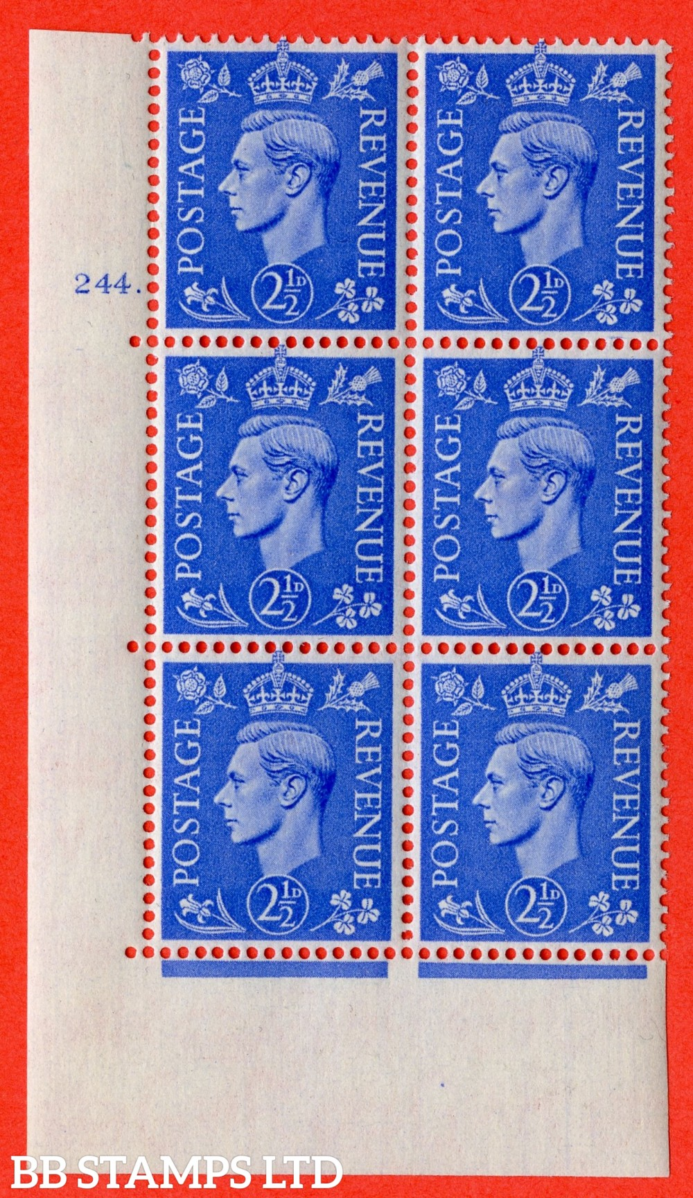 "SG. 489. Q14. 2½d Light ultramarine. A superb UNMOUNTED MINT "" No Control cylinder 244 dot "" control block of 6 with perf type 5 E/I"