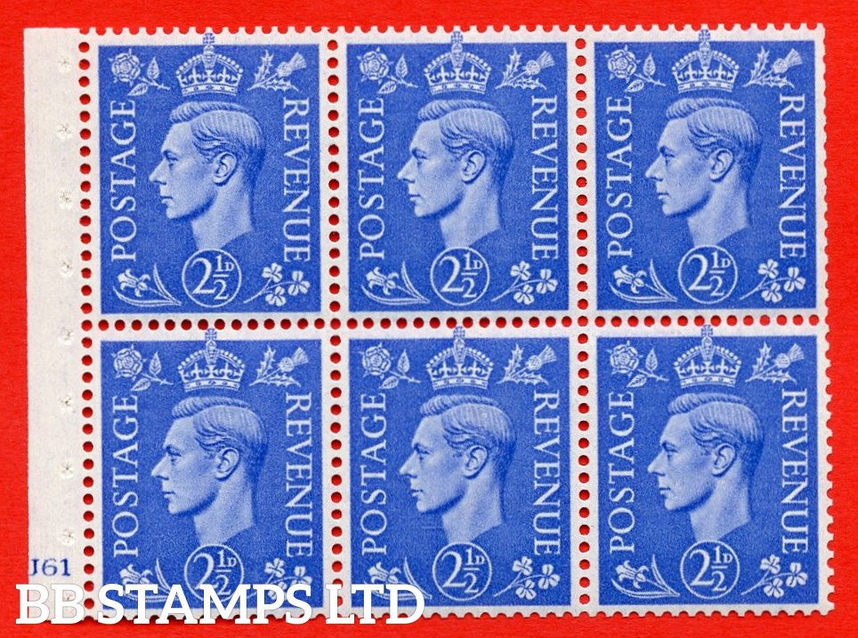 """SG. 489f. QB33. 2½d blue. A fine UNMOUNTED MINT complete Cylinder pane of 6 J61 No dot. Perf type """"B3(I)"""". Trimmed Perfs."""
