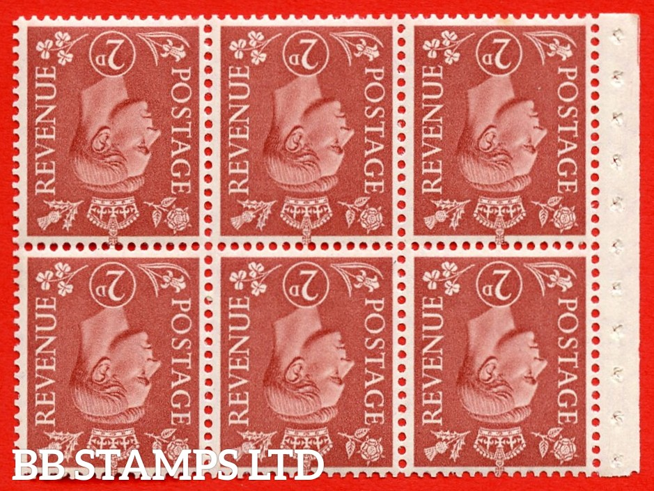 """SG. 506dw. QB31a. 2d pale red brown. A superb UNMOUNTED MINT. INVERTED WATERMARK complete booklet pane. Perf type """" Iet """". Good Perfs."""