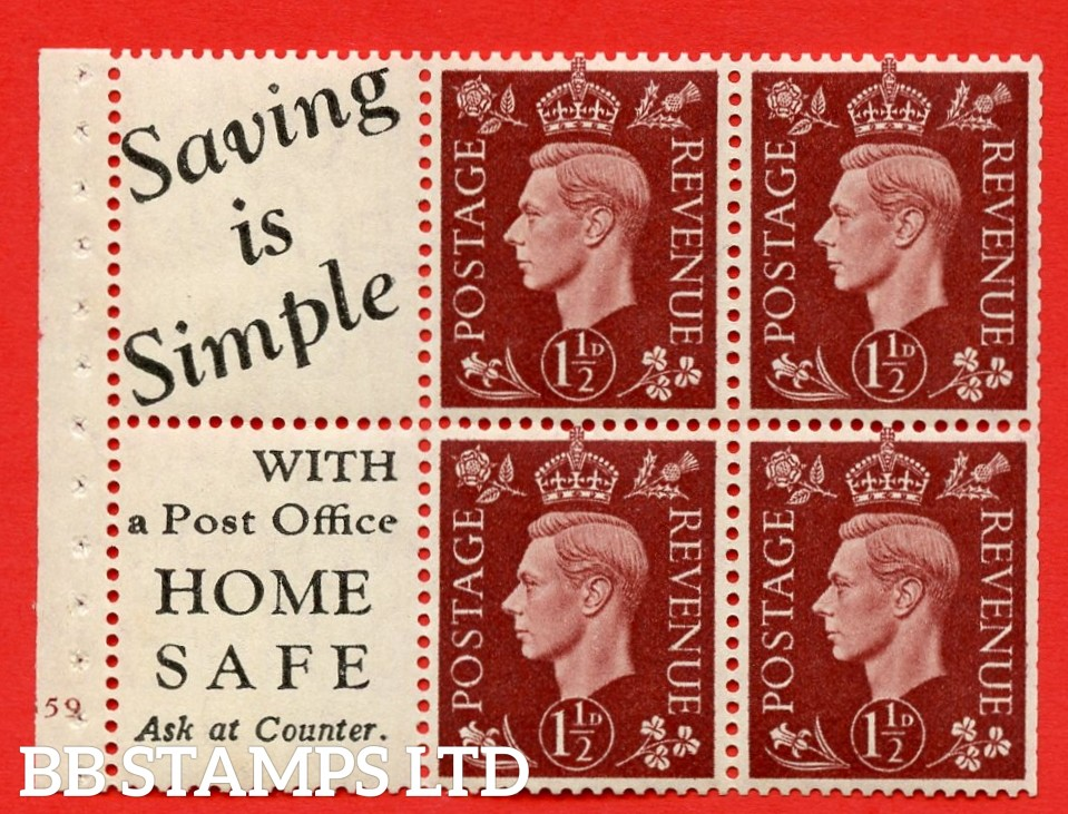 """QB23 Perf Type B3(I) (10) 1½d Red-Brown x 6 Pane, UNMOUNTED MINT. Cylinder Pane G59 no dot ( SG. 464b ) Perf type B3(I). """" Saving is Simple / (""""is"""" 4.5mm. High) Home Safe """". Trimmed Perfs."""