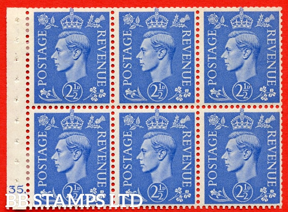"""SG. 489f. QB33. 2½d blue. A fine MOUNTED MINT complete Cylinder pane of 6 J35 dot. Perf type """"B6(IE)"""". Good Perfs."""