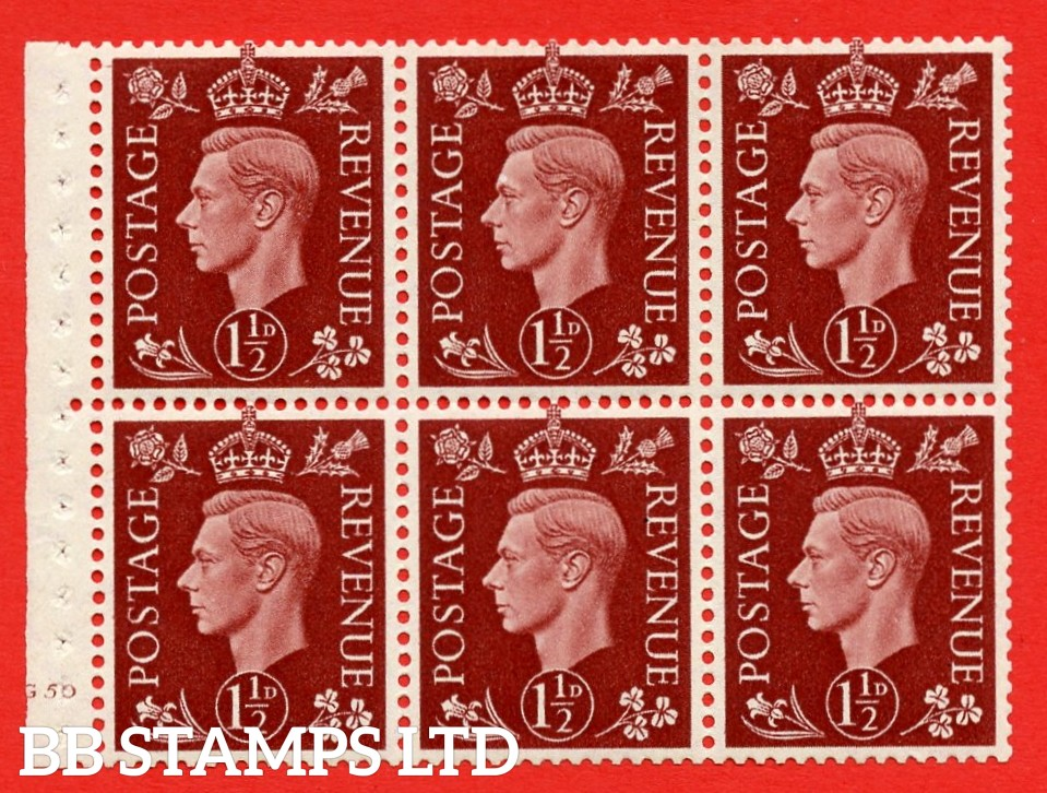QB21 Perf Type B4(E) 1½d Red-Brown x 6 Pane, MOUNTED MINT Watermark Upright. Cylinder Pane G50 no dot ( SG. 464c ) Perf type B4(E). Good Perfs.