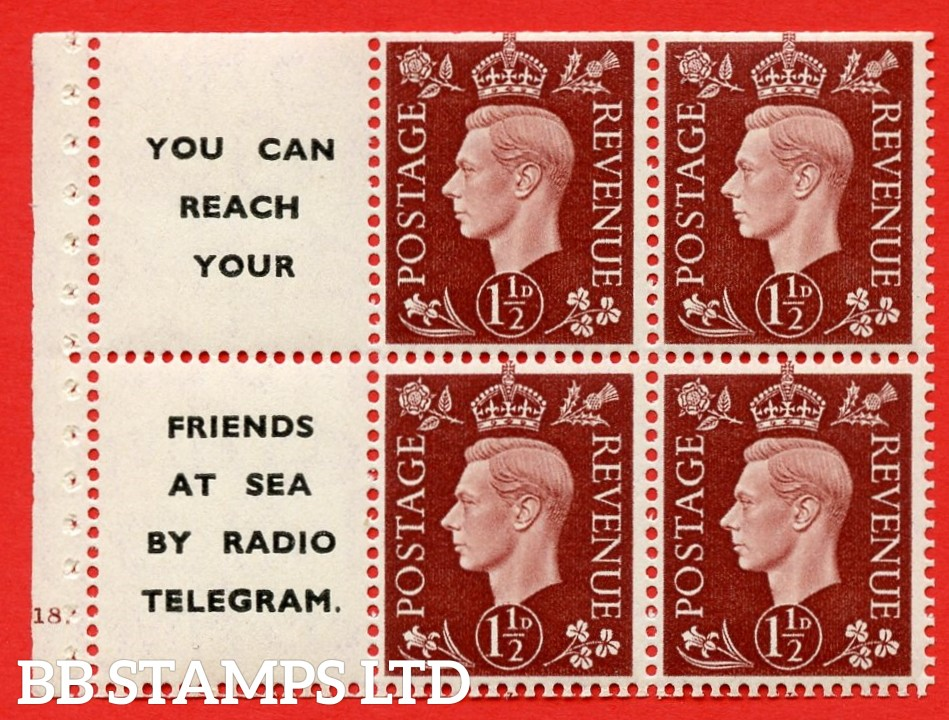 """QB23 Perf Type B4B(E) (12) 1½d Red-Brown x 6 Pane, UNMOUNTED MINT. Cylinder Pane G18 dot ( SG. 464b ) Perf type B4B(E). """" You can reach your / friends at sea by Radio Telegram  """". Trimmed Perfs."""