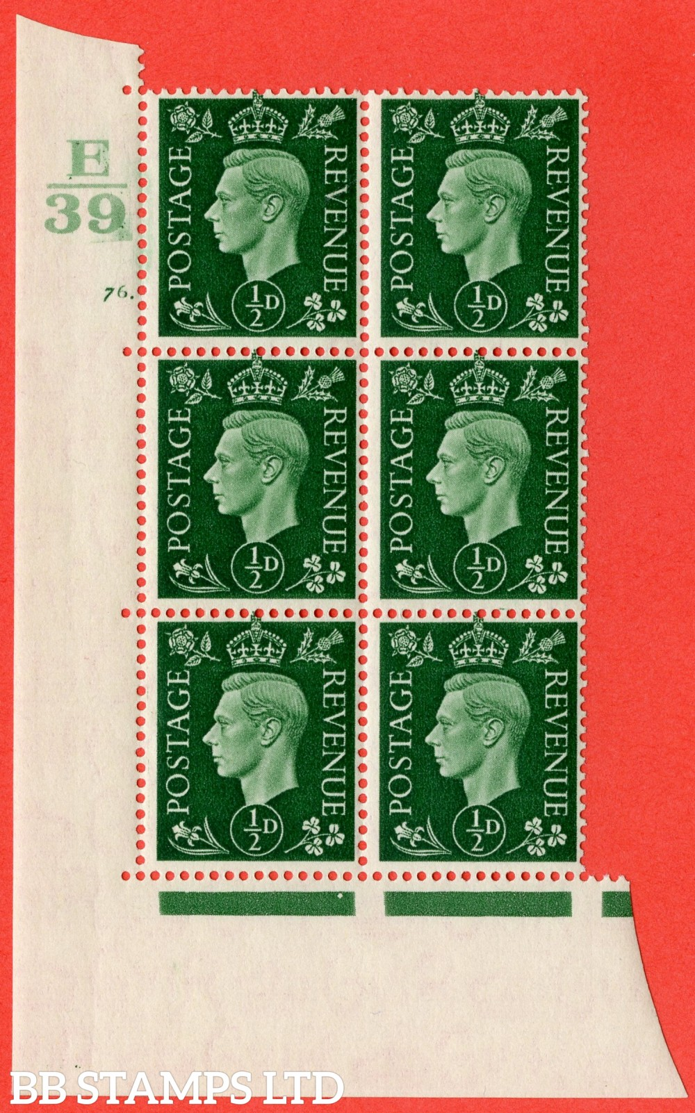 "SG. 462. Q1. ½d Green. A superb UNMOUNTED MINT "" Control E39 cylinder 76 dot "" block of 6 with perf type 5 E/I."
