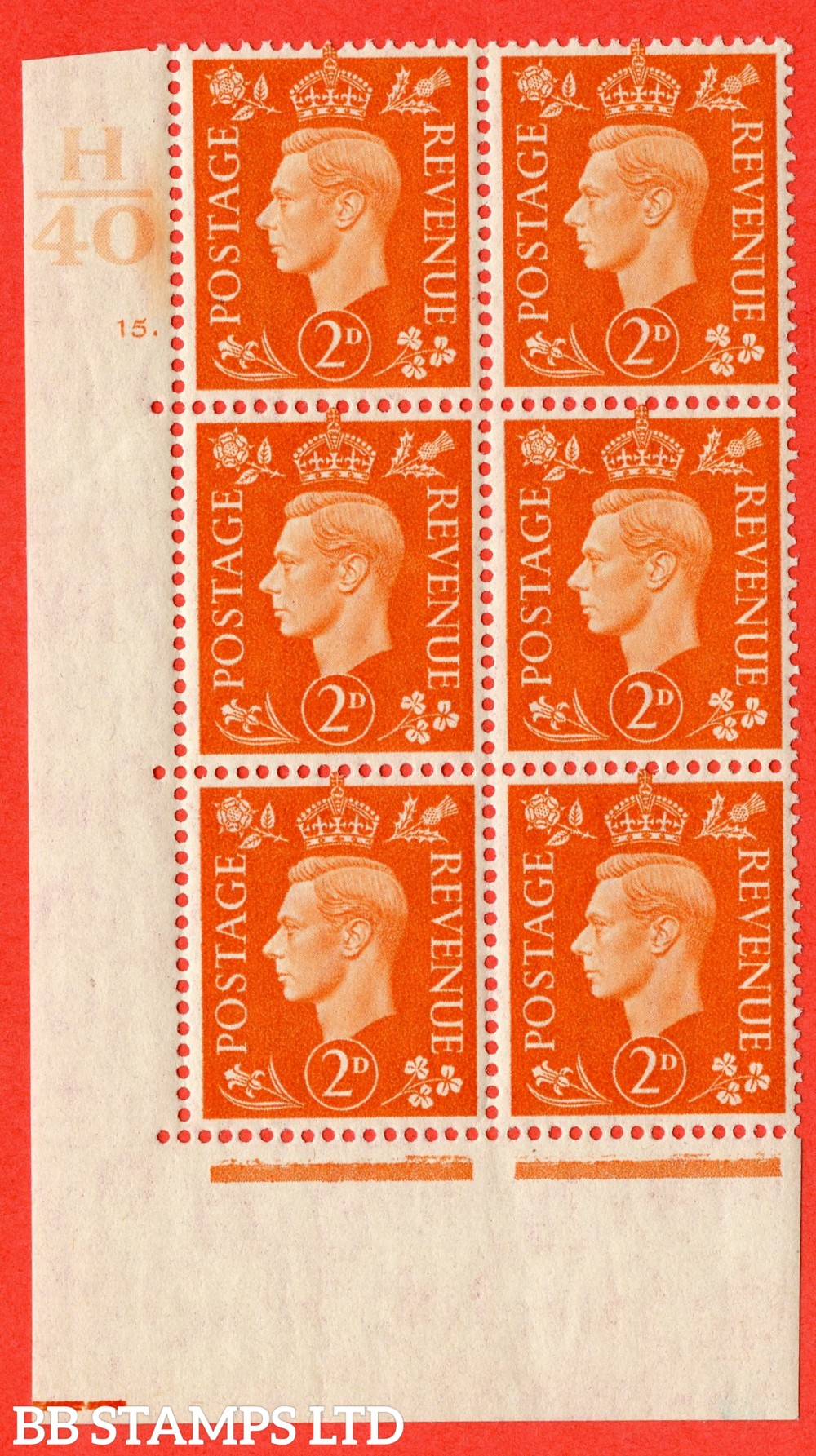 "SG. 465. Q10. 2d Orange. A fine lightly mounted mint "" Control H40 cylinder 15 dot "" control block of 6 with perf type 5 E/I."